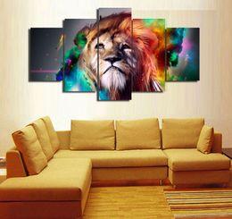 5 pannelli arcobaleno leone moderno astratto tela pittura a olio stampa wall art decor per soggiorno decorazione domestica incorniciato / unframe da nuda pittura famosa fornitori