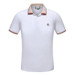 Wholesale Garment Men - Summer Men's t-shirt bee print no ball Short Sleeve Lead Lapel mens POLO soccer Unlined Upper Garment Code Wear Clothes Cotton ralph