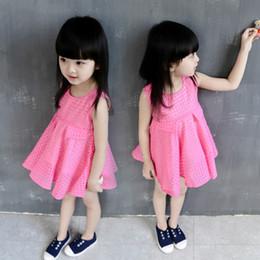 2019 vestidos de rosa vermelha para crianças Verão novas meninas colete dress rose red lace mangas princesa dress bonito xadrez crianças pano para o partido da menina do bebê desconto vestidos de rosa vermelha para crianças