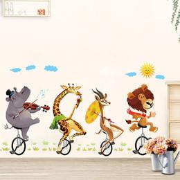 große waldtieraufkleber Rabatt Tier Wald Löwe große Wandaufkleber Abziehbilder Kinder Zimmer Dekor Kindergarten DIY abnehmbar