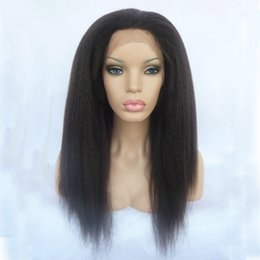 Wholesale long lace front wigs cheap - Cheap Synthetic Wigs 1b# 2# 6# Kinky Straight Long Yaki Wigs for Black Women Heat Resistant Glueless Front Lace Wigs with Baby Hair