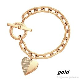 Wholesale Fine Jewelry Sets - 2017 Hot Sale heart pendant Bracelet New Style Brand Women Bracelet Gold Chain Heart Bracelets Pulseira Fine Jewelry
