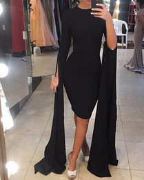 Wholesale Coctail Prom Dress - 2018 sexy cheap elegant plus size arabic black short evening gown long sleeves prom coctail dress