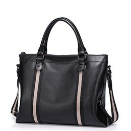 Chinese 2016 New Fashion Striped Men s Leather Top Handle Tote Business Work  Briefcase Casual Crossbody Detachable 79c5d69e6f