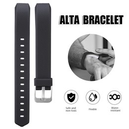 Wholesale Adjustable Wrist Bands - For Fitbit Alta Silicone Replacement Straps band Intelligent Classic Adjustable Wrist Straps With Metal Buckle For Alta Smart Bracelet