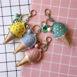 Wholesale handmade leather keychains - Creative Handmade PU Leather Ice Cream Keychain Key Rings Men Women Bag Car Key Holder Pendant Jewelry Accessories 4 Styles H488Q