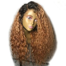 mongolian kinky curly full lace wigs 2018 - Ombre #1bT30 Kinky Curly Silk Top Full Lace Wigs With Natural Hairlines 100% Unprocessed Human Hair Wigs Bleached Knots Lace Front Wig