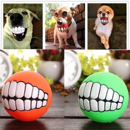 Wholesale Squeak Ball - Funny Pets Dog Puppy Cat Ball Teeth Toy PVC Chew Sound Dogs Play Fetching Squeak Toys Pet Supplies