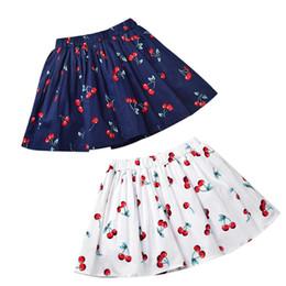 Wholesale White Blouses For Girls - Short Skirt Strawberry Print for Baby Girl Pleated Skirt Cotton Breathable White Blue 2018 Summer 3-7T
