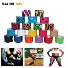 Wholesale wholesale brown tape - Macure Tape20 Color 5cm5m Sports Kinesiology Tape Cotton Rock Physical Therapy Basketball Soccer K Active Knee Pain Muscle Tapes
