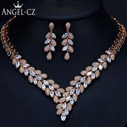 1f3d0e7ecd9c ANGELCZ Clásico Cubic Zirconia Color Oro traje de Boda Africana Gran  Declaración Dubai Joyería Collar de Las Mujeres Pendientes Conjuntos AJ127