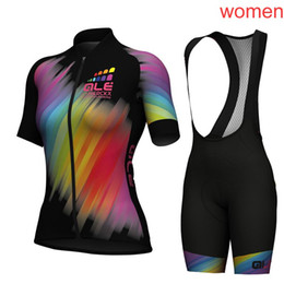 Wholesale women cycling jersey xl - 2018 ALE Cycling Jerseys Short Sleeves Summer Style For Women Ropa Ciclismo Cycling Tops + bib shorts sets F2110