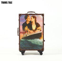 "Wholesale British Travel - TRAVEL TALE 20""22""24"" Inches Titanic British retro travel suitcase valise bagages roulettes trolley luggage"