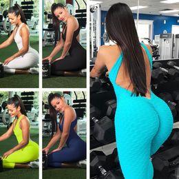 2019 spandex overalls frauen Fitness-Kleidung Frauen Einteiler Sport Anzug Set Workout Gym Fitness Overall Hosen Sexy Yoga Set Verband Gym Bodysuit rabatt spandex overalls frauen