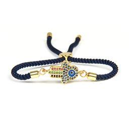 2019 disegni catena in oro nero Regalo all'ingrosso del braccialetto del merletto di Hamsa della mano di Fatima dell'occhio della cz dell'occhio blu all'ingrosso 10pcs / lot per gli uomini e le donne