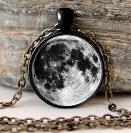 Wholesale Necklace Full Moon - Wholesale-Glowing Jewelry galaxy moon necklace full moon necklace Black Pendant And Chain gifts glass Necklace Pendant Sweater Chain Gift