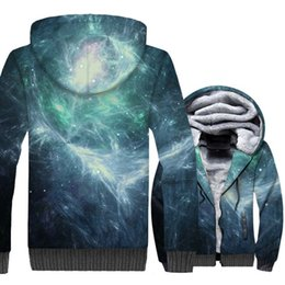 Sudadera nebulosa online-Space Galaxy 3D Print Hoodie Hombres Colorful Nebula Sudadera con capucha Harajuku Coat 2018 Winter Thick Fleece Warm Dreamlike Jacket