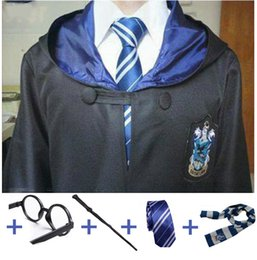 Wholesale Scarves Male - costume Costume Robe Cloak with Tie Scarf Ravenclaw Gryffindor Hufflepuff Slytherin for Adult Kids for Harri Potter Cosplay