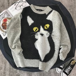 Wholesale Korea Man Sweater - Men's 2017 new autumn and winter youth cartoon sweater Korea thick sets of knitted sweaters Free shipping