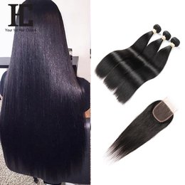 Wholesale Remy Pack Hair - Brazilian Straight Hair 3 Bundels With Lace Closure Remy Human Hair Bundles 4PCS PACK 4*4 lace Closure
