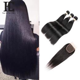 Wholesale Human Hair Bundle Packs - Brazilian Straight Hair 3 Bundels With Lace Closure Remy Human Hair Bundles 4PCS PACK 4*4 lace Closure