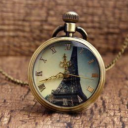 Relogios paris eiffel on-line-Vintage Retro Torre Eiffel Paris Relógios de Bolso Números Romanos Relógio De Bolso De Quartzo Das Mulheres Dos Homens de Vidro Das Senhoras Cara Fob Cadeia de Colar