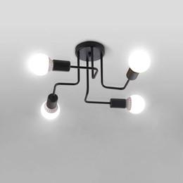Montaje de barra de techo online-2017 Vintage Luces de Techo Hierro Varilla Varilla de la Lámpara de Techo Creativo Personalidad Retro Luminaria Industrial Inicio Luminaria Fixture