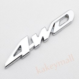 Wholesale Auto 4wd - Chrome Car Auto Decorate Accessories 4 WD 4WD Emblems Badge 3D Decal Sticker Metal
