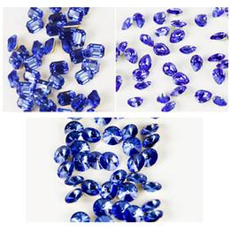 100pcs / bag Blue Square / Heart / Round Nail Rhinestones di cristallo di vetro per le unghie 3D Manicure Rhinestone PointBack Nail Art Decoration da