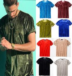 Samthemden für männer online-Großhandelsmänner 2018 Sommer-Mens-Entwerfer-T-Shirt-europäische Art-Samt-T-Shirt Rundhalsausschnitt-Baumwollkurzschluss-Hülsen-männliche und weibliche T-Shirts