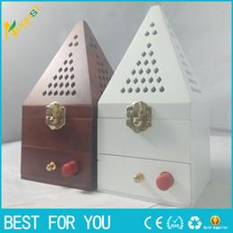 Wholesale aroma burner - Hot sale 20cm Tower Wooden smoked incense burner Aroma Burner with Ignition system