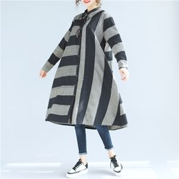 Wholesale Loose Dress Styles - 2017 Striped Loose Spring Autumn Shirt dress for women Korean style Long sleeve Women dress Black Gray colors