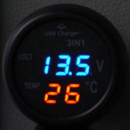 Cargador de coche usb tres online-Tres en uno multifunción de coches voltímetro, a bordo en el termómetro, cargador de teléfono móvil USB