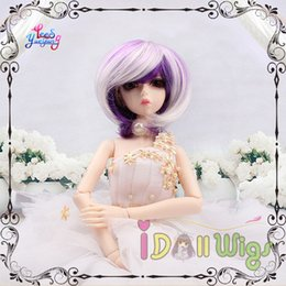 Wholesale Short Chic Wigs - Free Shipping Chic short purple white blended bjd doll wigs 1 3 1 4 1 6 1 8 for choice