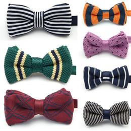Wholesale knitted bowties - Men Leisure Preppy Chic Yarn Bow Ties Knitting British Style Bowties For College Party Wedding Suit Decoration Cravats Quality 42 87mz Z
