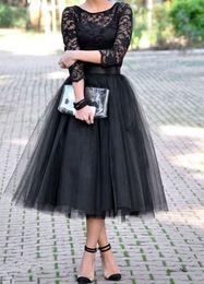 2019 drei viertel ärmel abendkleider Moderne Hülse mit drei Vierteln neue Schaufel-kurze schwarze Abschlussball-Kleider schnüren sich eine Linie formale Abendkleider-Partei-Tee-Längen-Gurt-bloßes drapiertes günstig drei viertel ärmel abendkleider
