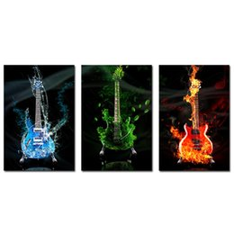 Wholesale Wall Art Guitars - 3 Piece Abstract the Flame Guitar HD Wall Picture Home Decor Art Print Painting On Canvas For Living Room Unframed