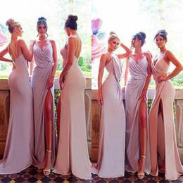 Discount orange thigh highs - Sexy Summer Spaghetti Straps Sleeveless Bridesmaid Dresses 2018 Arabic Mermaid High Thigh Split Long Maid of Honor Gowns Pleats Backless