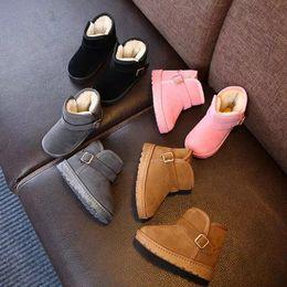 botas impermeables de invierno para niños Rebajas Botas de nieve para niños Botas cortas de invierno Cálido Botas de cuero para niños pequeños de espalda gruesa Zapatos de moda para niños Zapatos ocasionales impermeables YFA484