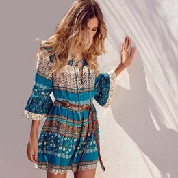Wholesale Pencil Flare - 2018 Summer Short Casual Dress Bohemian Style Floral Stripe Printed Beach Dress V-Neck Bell Sleeve Cotton Shift Dresses CSH0110