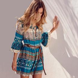 Wholesale dresses shift cotton - 2018 Summer Short Casual Dress Bohemian Style Floral Stripe Printed Beach Dress V-Neck Bell Sleeve Cotton Shift Dresses CSH0110