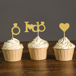 Torte doccia nuziale online-Glitter oro o argento I DO Wedding Toppers Cupcake Bridal Shower Picks Party Fidanzamento Bomboniere Cake Decoration Supplies
