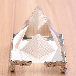 Canada Pyramide de verre en cristal argenté avec support en or Feng shui Égypte Figurines de figurines égyptiennes en ornements artisanat Offre