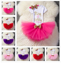 Wholesale birthday party outfits - kids clothing letter outfits girls Sequins Bow headband+letter romper+TuTu lace skirts 3pcs set Boutique kids Birthday party Clothing Sets