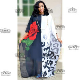 2018 Новая Мода Роуз Шаблон Шифон Супер Размер Африканский Свободные Длинные Dashiki Традиционное Вечернее Платье Для Леди cheap african fashion dresses for ladies от Поставщики африканские платья для дам