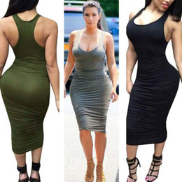 Wholesale floral printed bodycon dress - 2018 Summer Style Women Bandage Dress Sleeveless Bodycon Sexy Night Club Party 8 Colors Dresses Midi Tank Casual Pencil Vestidos
