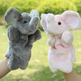 2019 marionetas de mano 2016 Plush Hand Puppet Elephant Dolls Funny Baby Early Juguetes educativos Animal Hand Glove Puppets para el regalo del bebé marionetas de mano baratos