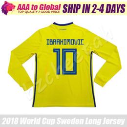 34ee60578 Sweden long sleeve jersey 2018 Thai Quality Sweden IBRAHIMOVIC ELMANDER  TOIVONEN long soccer jersey 18 19 long football jerseys
