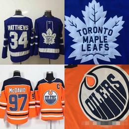 Mens Edmonton Oilers Jersey Capitan C Patch 97 Connor McDavid Toronto Maple Leafs 34 Auston Matthews Hockey Maglie commercio all'ingrosso a buon mercato supplier cheap toronto maple leaf jerseys da pullover a foglie di acero a buon mercato toronto fornitori