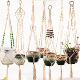 Macrame Plant Hanger Indoor Outdoor Fioriera sospesa Basket Iuta Retro Flower Pot Hanging Corda Titolare String Home Garden Decorazione balcone da